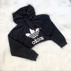 Black & White Cropped Adidas Logo Spellout Hoodie